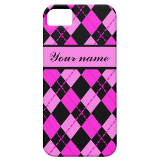 Girly customizable name argyle pattern iPhone SE/5/5s case
