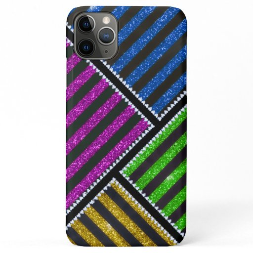 Girly Customized Glitter Stripes iPhone 11 Pro Max Case