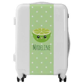 Girly Cute Cartoon Lime On Pastel Green Polka Dot Luggage