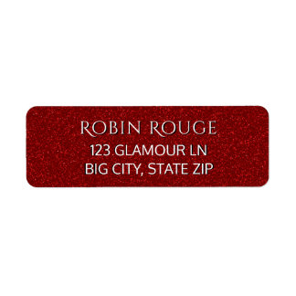 Girly Cute Chic Luxe Glam Faux Red Glitter Modern Label