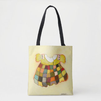 girly cute child's dress, yellow tote bag