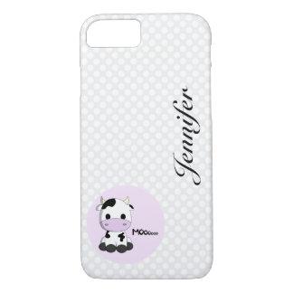 Girly cute cow cartoon customizable girls iPhone 7 case