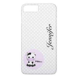 Girly cute cow cartoon customizable girls iPhone 7 plus case