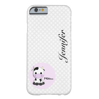 Girly cute cow cartoon customizable kids barely there iPhone 6 case