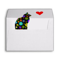 Girly Cute Floral Retro Cat Feline with Heart Envelope