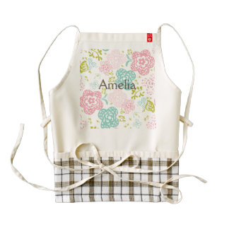 Girly,cute,floral,trendy,pink,teal,white,green,fun Zazzle HEART Apron