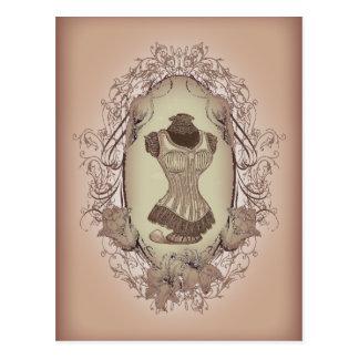 girly cute floral wreath vintage corset postcard