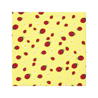 girly cute ladybug and daisy flower pattern yellow canvas print