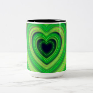 Girly Cute Neon Heart Design Two-Tone Coffee Mug