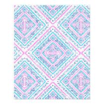 Girly Cute Pink Blue Aztec Tribal Pattern Flyer