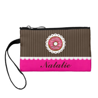 Girly Cute Pink & Brown Donut Personalized Name Coin Purse