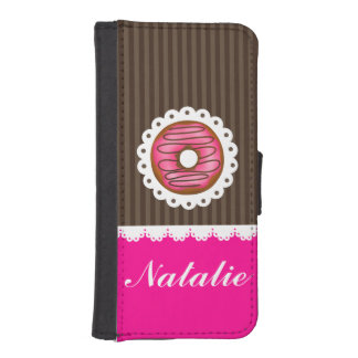 Girly Cute Pink & Brown Donut Personalized Name iPhone SE/5/5s Wallet Case