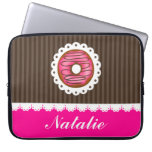 Girly Cute Pink & Brown Donut Personalized Name Laptop Computer Sleeve