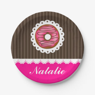 Girly Cute Pink & Brown Donut Personalized Name Paper Plate