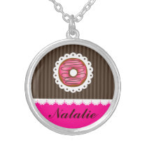 Girly Cute Pink & Brown Donut Personalized Name Silver Plated Necklace
