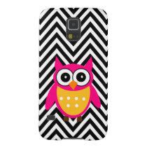 Girly Cute Pink Owl Black Chevron Pattern Galaxy S5 Cover