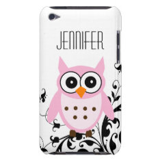 Girly Cute Pink Owl Your Name Barely There iPod Cover at Zazzle