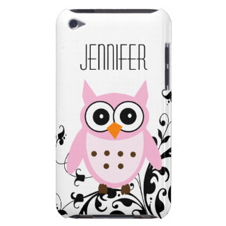 Girly Cute Pink Owl Your Name Barely There iPod Cover