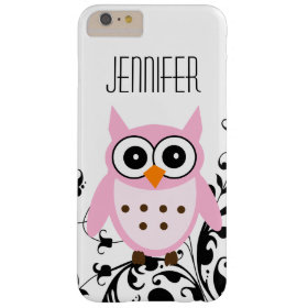 Girly Cute Pink Owl Your Name Barely There iPhone 6 Plus Case