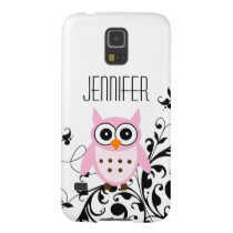 Girly Cute Pink Owl Your Name Case For Galaxy S5
