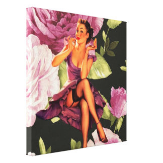 girly cute purple rose pin up girl vintage stretched canvas prints