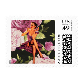 girly cute purple rose pin up girl vintage stamps