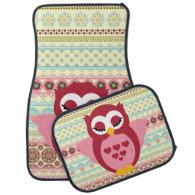 Girly Cute Sleepy Owl Car Mat