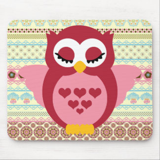 Girly Cute Sleepy Owl Mouse Pad