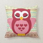 Girly Cute Sleepy Owl Throw Pillow