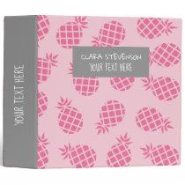 Girly cute summer pastel pink pineapple pattern binder
