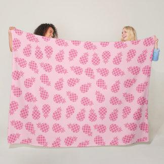 Girly cute summer pastel pink pineapple pattern fleece blanket