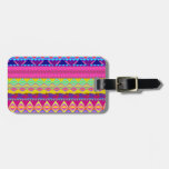 Girly cute trendy aztec andes design bag tag
