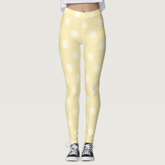 Girly  Cute Yellow, White  Polka Dots  Pattern Leggings