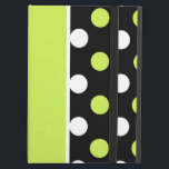 "Girly Damask and Polka Dot Patterns Cover For iPad Air<br><div class=""desc"">Pretty iPad Air case, with built in stand and graphics of three stripes of different patterns. A black and white damask pattern, solid chartreuse, and a black with white and chartreuse polka dots. Customize to add any text you want to this high quality iPad case. Makes an excellent gift idea....</div>"