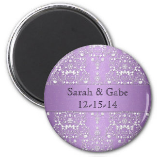 Girly Damask in Lavender and White 2 Inch Round Magnet