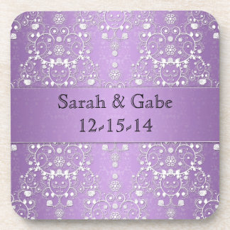 Girly Damask in Lavender and White Beverage Coaster