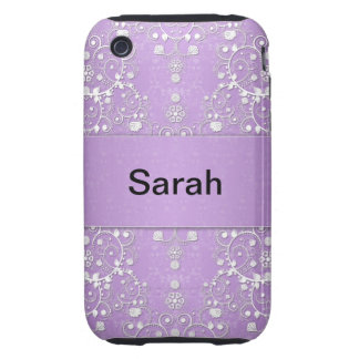 Girly Damask in Lavender and White Tough iPhone 3 Case