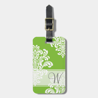 Girly Damask Monogram Luggage Tag