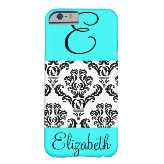 Girly Damask Pattern with Monogram and Name Barely There iPhone 6 Case