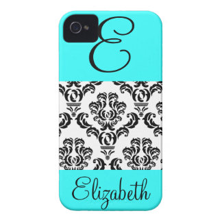 Girly Damask Pattern with Monogram and Name iPhone 4 Cover