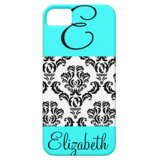 Girly Damask Pattern with Monogram and Name iPhone SE/5/5s Case
