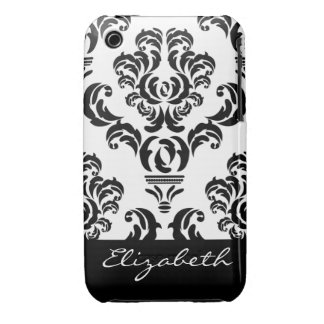 Girly Damask Pattern with Name - Black and White Case-Mate iPhone 3 Case