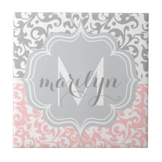 Girly Damask Swirls Pink and Gray Monogrammed Ceramic Tile