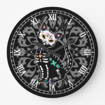 Girly Day of the Dead cute cat and grey damask Large Clock