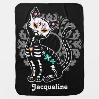 Girly Day of the Dead cute cat custom black Receiving Blanket