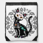 Girly Day of the Dead cute cat custom Cinch Bags