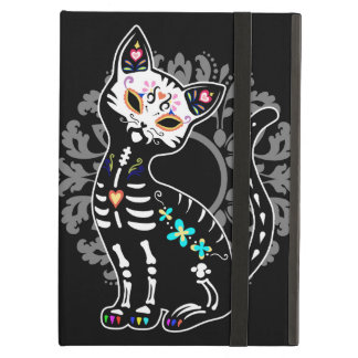 Girly Day of the Dead cute cat custom monogram iPad Air Cover