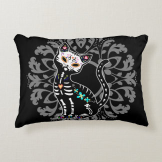 Girly Day of the Dead cute cat custom monogram Accent Pillow