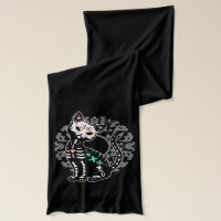 Girly Day of the Dead cute cat custom monogram Scarf