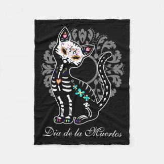 Girly Day of the Dead cute cat custom name Fleece Blanket